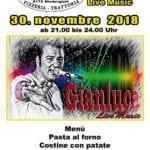 Gianluca al Ristorante Piccolo Ritrovo – 30 Novembre – Karaoke e Live Music