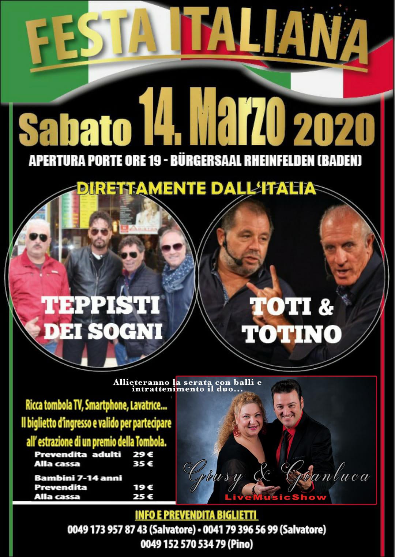 FESTA ITALIANA con TEPPISTI DEI SOGNI e TOTI & TOTINO – 14 Marzo 2020